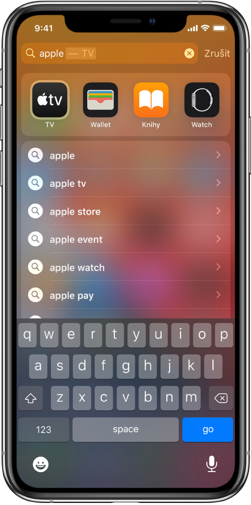"""Obrazovka sukázkou vyhledávacího dotazu na iPhonu. Nahoře se nachází vyhledávací pole, které obsahuje hledaný text """"apple"""", apod ním nalezené výsledky."""