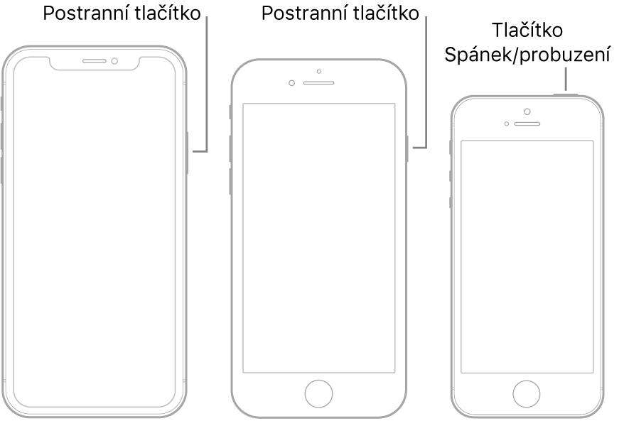 Postranní tlačítko nebo tlačítko Spánek/probuzení na třech různých modelech iPhonu