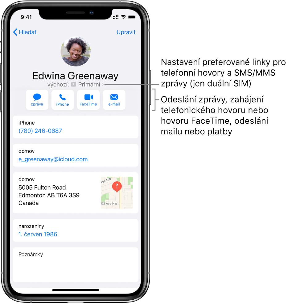 Informační obrazovka kontaktu. Nahoře se zobrazuje fotka ajméno kontaktu. Pod ním se nacházejí tlačítka pro zaslání zprávy, zahájení telefonního hovoru, zahájení hovoru FaceTime, zaslání e-mailové zprávy aposlání peněz přes ApplePay. Pod tlačítky jsou uvedeny kontaktní údaje