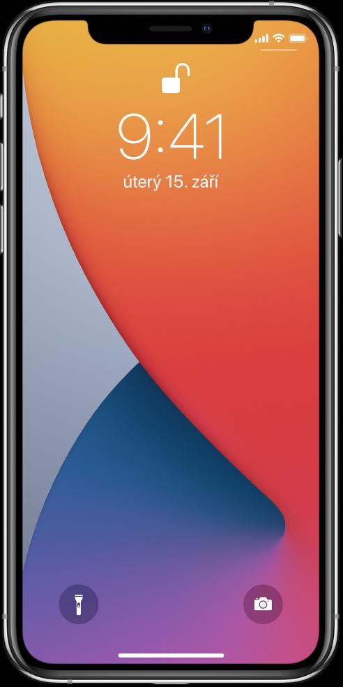 Uzamčená obrazovka iPhonu saktuálním časem adatem