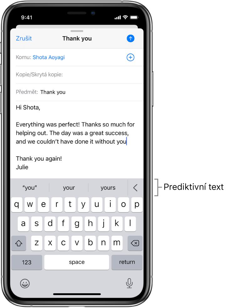 Zpráva vaplikaci Mail supravovaným e‑mailem azobrazenými návrhy na dokončení dalšího slova