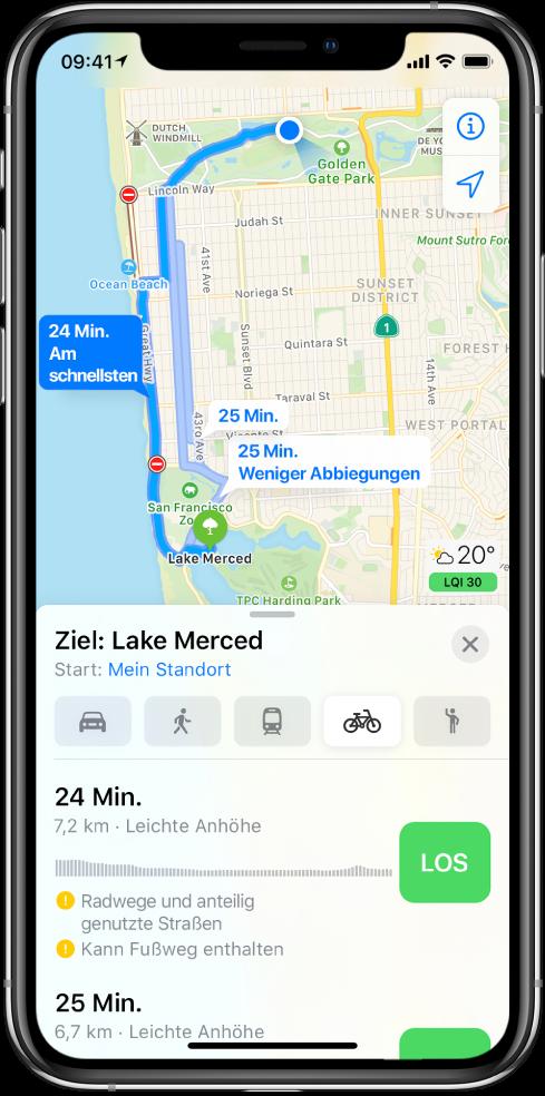 """Eine Karte mit mehreren Fahrradrouten. Die Routenbeschreibung unten enthält Details zur Route wie die geschätzten Fahrtzeiten, Höhenunterschiede und Straßenarten. Neben jeder Routenoption in der Routenbeschreibung befindet sich die Taste """"Los""""."""
