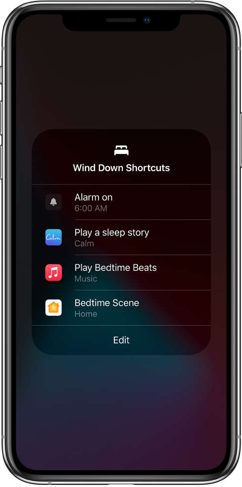 A Wind Down Shortcuts screen with shortcuts to play a sleep story, play bedtime beats, and start a bedtime Home scene.