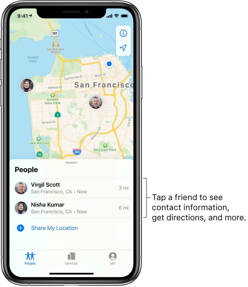 The Find My screen open to the People tab. There are two friends in the People list: Virgil Scott and Nisha Kumar. Their locations are shown on a map of San Francisco.