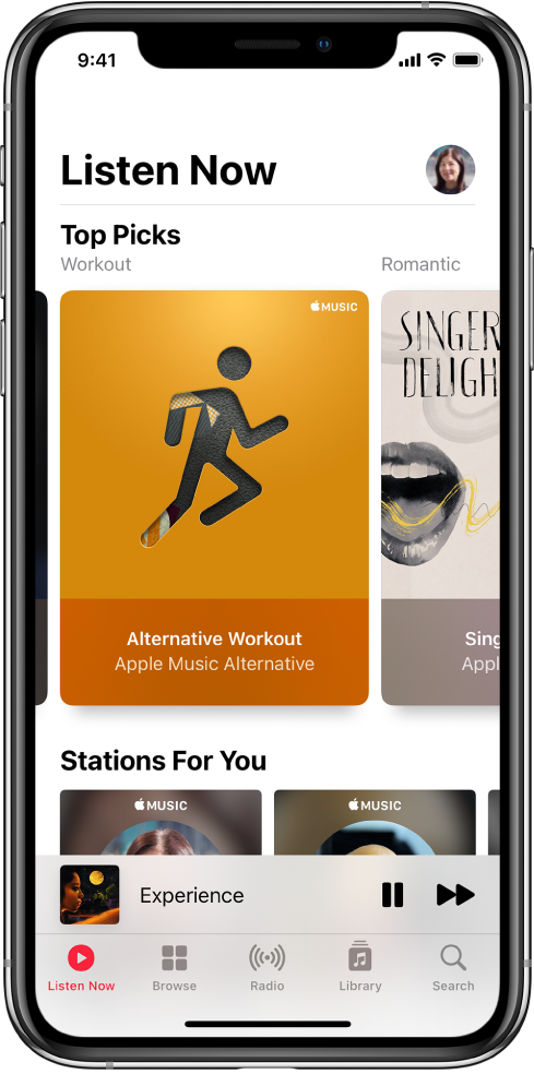 The Listen Now screen showing the profile button at the top right. Top Picks playlists appear below. Below Top Picks is the Stations For You section, showing two stations.