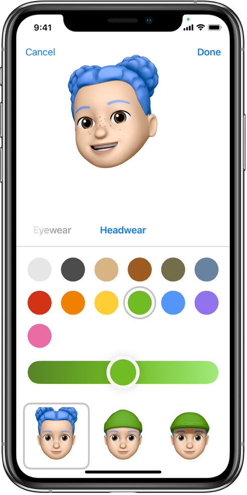 The create Memoji screen, showing the character being created at the top, features to customize below the character, then below that, options for the selected feature. The Done button is at the top right and the Cancel button is at the top left.