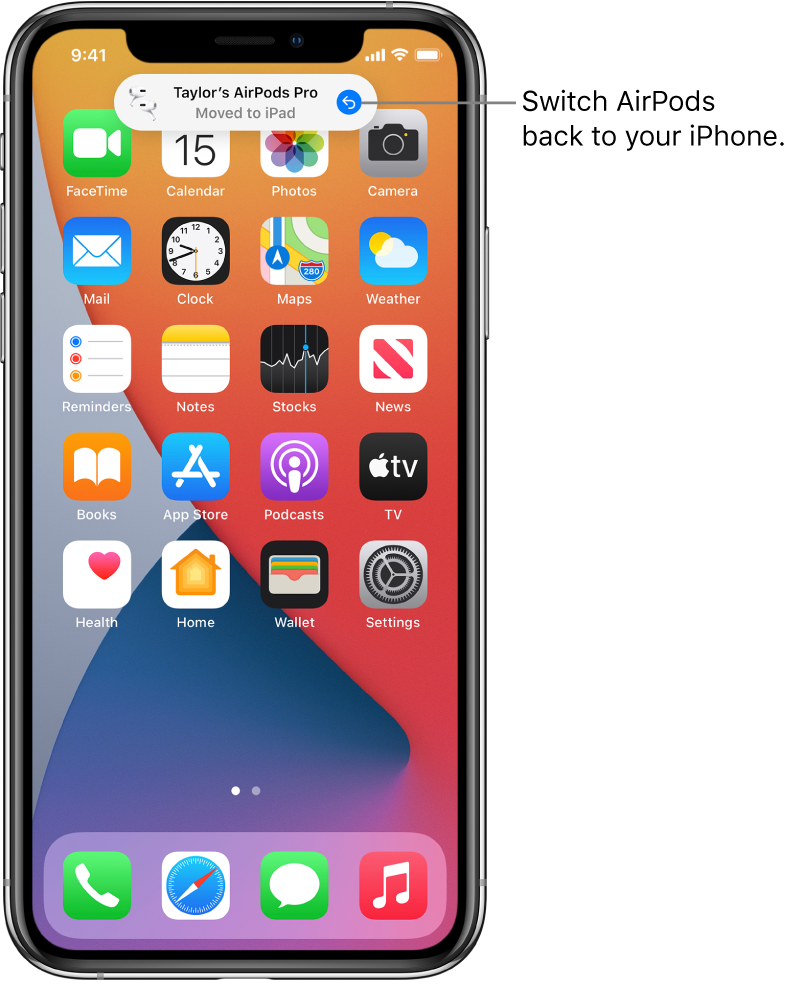 """The Lock Screen with a message at the top reading """"Taylor's AirPods Pro Moved to iPad"""" and a button to switch the AirPods back to iPhone."""