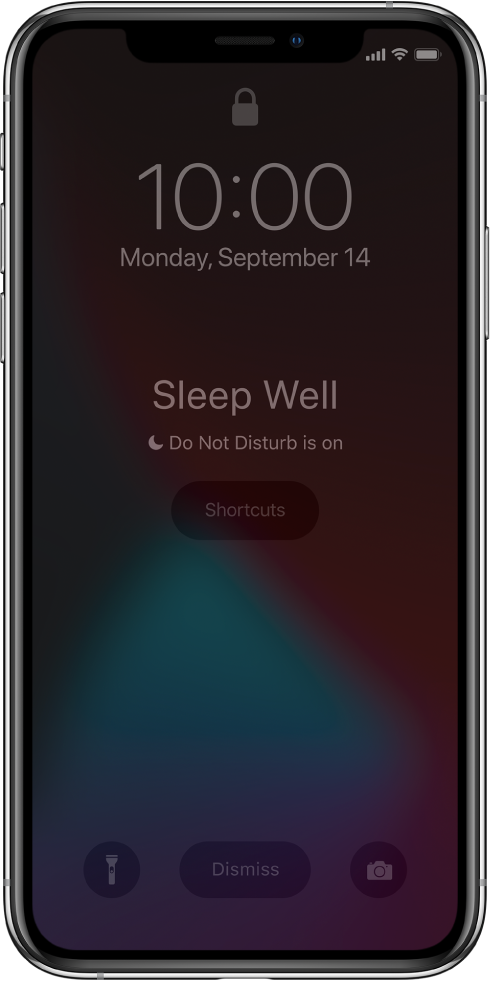 """The iPhone screen showing """"Sleep Well"""" and """"Do Not Disturb is on"""" in the center. Below that is the Shortcuts button. At the bottom of the screen, from left to right, are the Flashlight, Dismiss, and Camera buttons."""