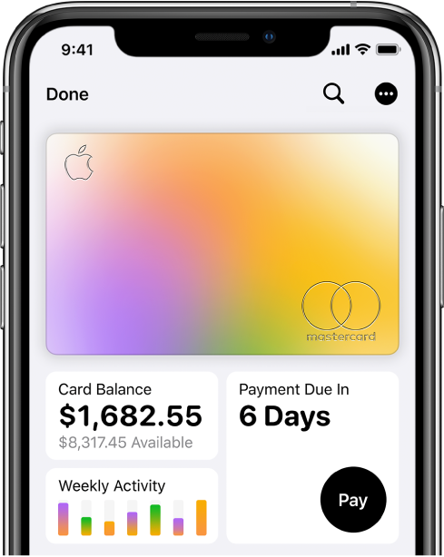 The Apple Card in Wallet, showing the More button at the top right, total balance and weekly activity at the bottom left, and the Pay button at the bottom right.