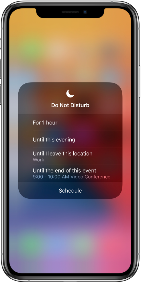 "The screen for choosing how long to leave on Do Not Disturb—the options are ""For 1 hour,"" ""Until this evening,"" ""Until I leave this location,"" and ""Until the end of this event."""
