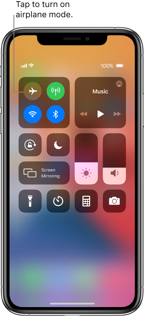 The Control Center screen with a callout explaining that tapping the top-left button turns on airplane mode.