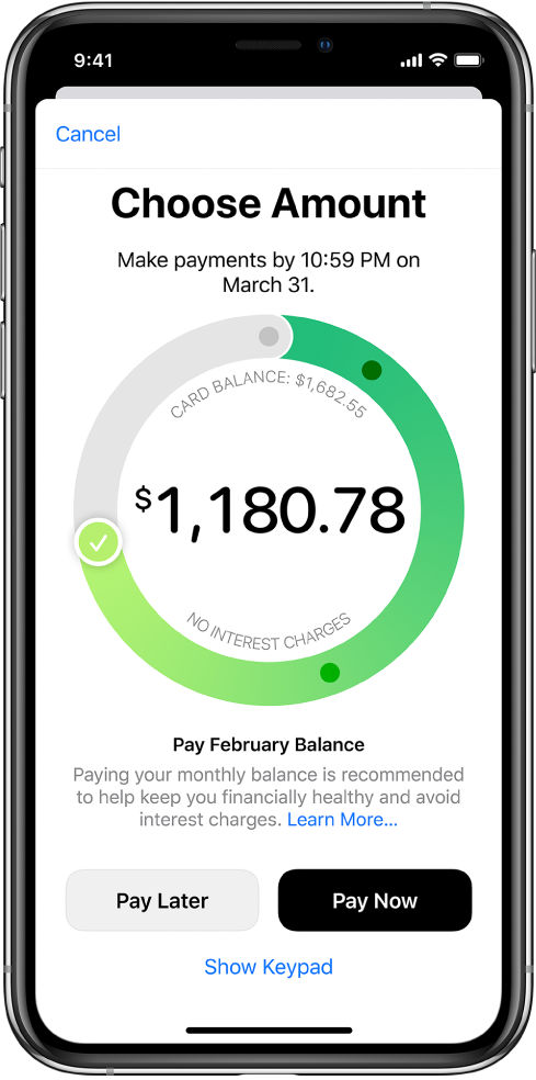 Pantalla de pago con una marca de verificación que arrastras para ajustar el importe de pago. En la parte inferior, puedes elegir entre pagar en una fecha posterior o pagar ahora.