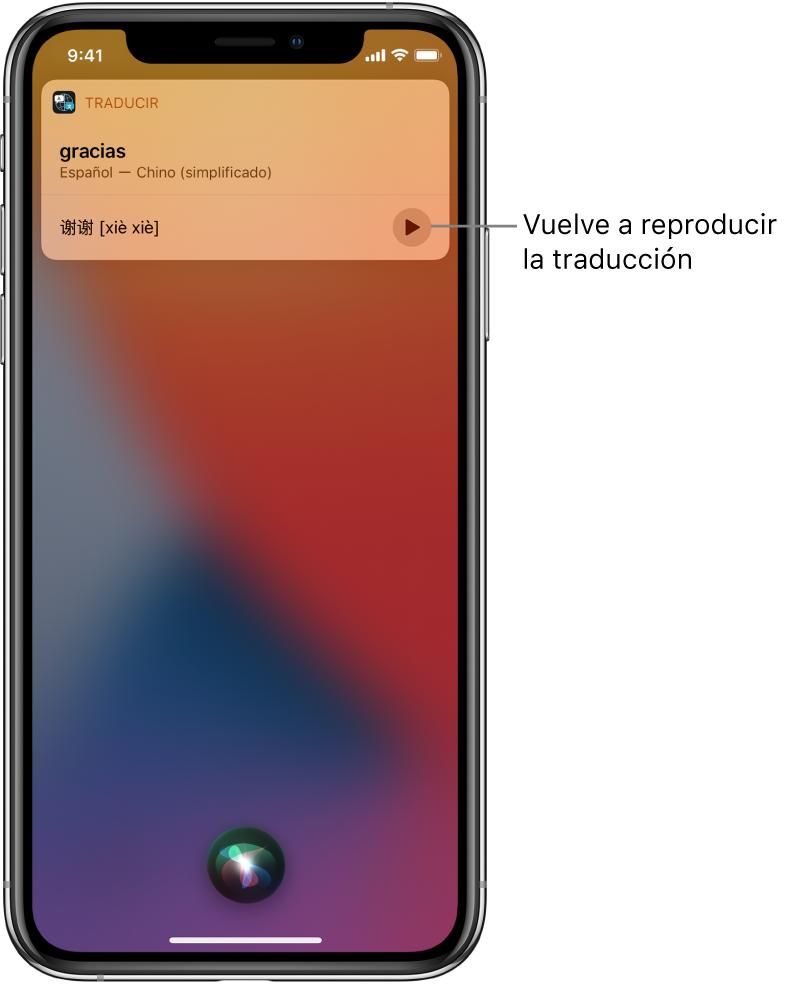 """Siri muestra una traducción de la frase """"gracias"""" en chino mandarín. Un botón situado a la derecha de la traducción reproduce el audio de la traducción."""