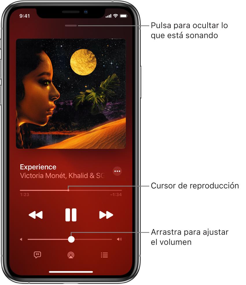 """Pantalla """"En reproducción"""" con la ilustración del álbum. Debajo se encuentran el título de la canción, el nombre del artista, el botón Más, el cursor de reproducción, los controles de reproducción, el regulador de volumen y los botones Letra, """"Destino de la reproducción"""" y Cola. El botón de ocultar """"En reproducción"""" se encuentra en la parte superior."""