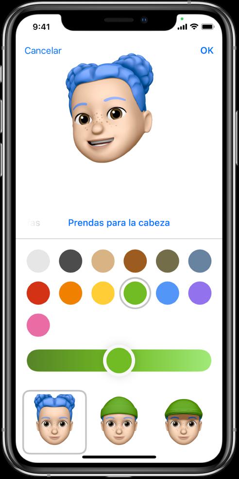 Pantalla para crear un Memoji, con el personaje que se está creando en la parte superior, las características para personalizarlo debajo del personaje y las opciones de la característica seleccionada en la parte inferior. El botón OK está en la parte superior derecha, mientras que en la parte superior izquierda se encuentra el botón Cancelar.