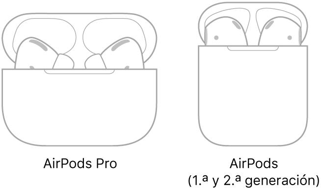 En la ilustración de la izquierda, unos AirPodsPro en su estuche. En la ilustración de la derecha, unos AirPods (2.ªgeneración) en su estuche.