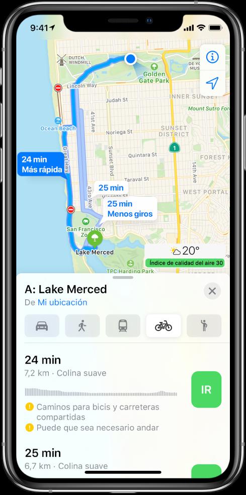 Mapa con varias rutas para ir en bici. La información de la ruta de la parte inferior proporciona detalles para las rutas, incluso las horas aproximadas, los cambios de desnivel y los tipos de carretera. En la información de la ruta aparece el botón Ir junto a cada opción.