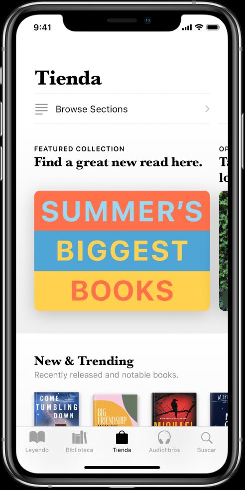 Pantalla de la app Libros en la pestaña Tienda. En la parte inferior de la pantalla, de izquierda a derecha, se muestran las pestañas Leyendo, Biblioteca, Tienda, Audiolibros y Buscar. La pestaña Tienda está seleccionada. La pantalla también muestra libros y categorías de libros para explorar y comprar.