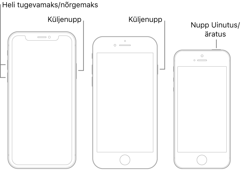 Kolme erineva iPhone'i mudeli joonised, kus kõigi ekraanid on suunatud ülespoole. Vasakpoolsel joonisel on näha, kuidas helitugevuse suurendamise ja vähendamise nupud asuvad seadme vasakul küljel. Küljenupp asub paremal. Keskmisel joonisel kuvatakse seadme paremal küljel asuvat küljenuppu. Kõige parempoolsemal joonisel kuvatakse seadme ülaosas asuvat nuppu Uinutus/äratus.