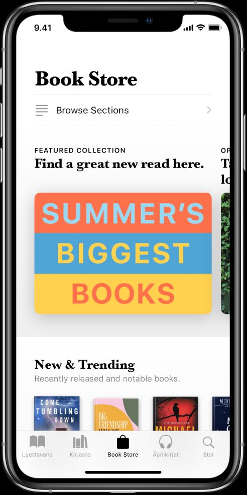 Kirjat-appi, jossa näyttö BookStoresta. Näytön alareunassa vasemmalta oikealle ovat seuraavat välilehdet: Luettavana, Kirjasto, Book Store, Äänikirjat ja Haku. Book Store -välilehti on valittuna. Näytössä näkyy myös kirjoja ja kirjakategorioita, joita voi selata ja ostaa.