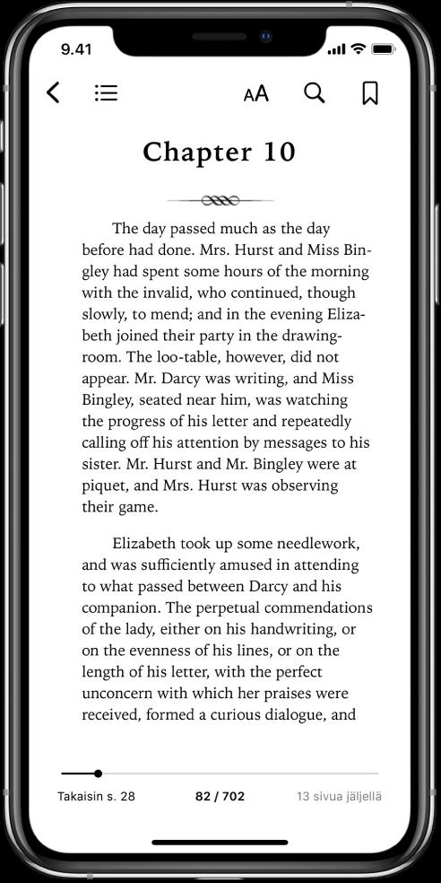 Kirjan sivu on avoinna Kirjat-apissa. Näytön yläreunassa vasemmalta oikealle lueteltuina ovat painikkeet kirjan sulkemiselle, sisällysluettelon näyttämiselle, tekstin muuttamiselle, hakemiselle ja kirjanmerkin lisäämiselle. Näytön alareunassa on liukusäädin.