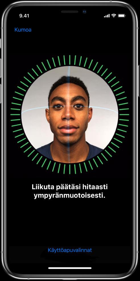 FaceID -tunnistuksen käyttöönottonäyttö. Näytöllä näkyy kasvot, joiden ympärillä on ympyrä. Niiden alla oleva teksti ohjeistaa sinua liikuttamaan päätäsi hitaasti ympyränmuotoisesti.
