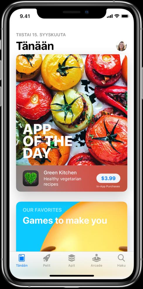 AppStoren Tänään-näytöllä näkyy esittelyssä oleva appi. Yläoikealla on profiilikuvasi, jota napauttamalla voit katsella ostoksia ja hallita tilauksia. Alareunassa vasemmalta oikealle ovat Tänään-, Pelit-, Apit-, Arcade, ja Haku-välilehdet.