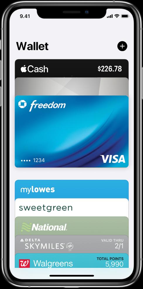 Wallet-näkymä, jossa näkyy useita maksukortteja sekä muita kortteja.