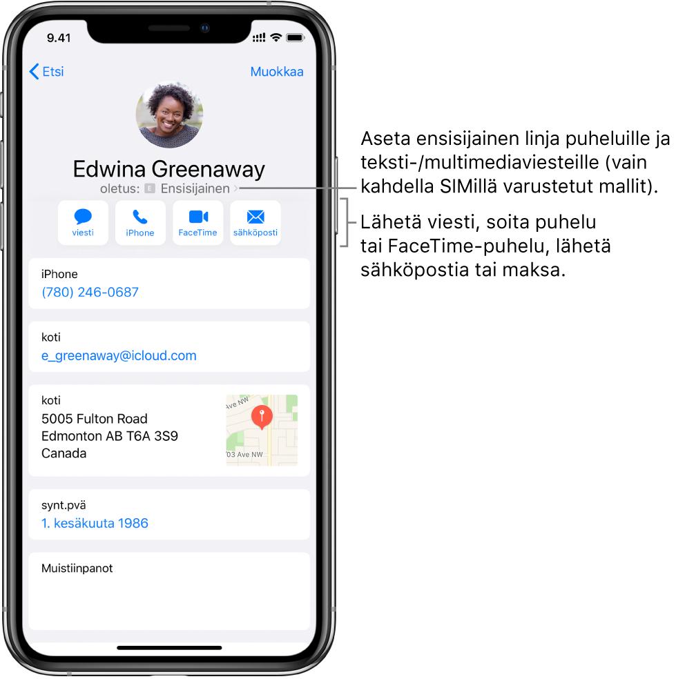 Yhteystiedon tietonäyttö. Yläreunassa on yhteystiedon kuva ja nimi. Alla ovat painikkeet viestin lähettämiselle, puhelun soittamiselle, FaceTime-puhelun soittamiselle, sähköpostiviestin lähettämiselle ja rahan lähettämiselle ApplePaylla. Painikkeiden alla on yhteystiedot.