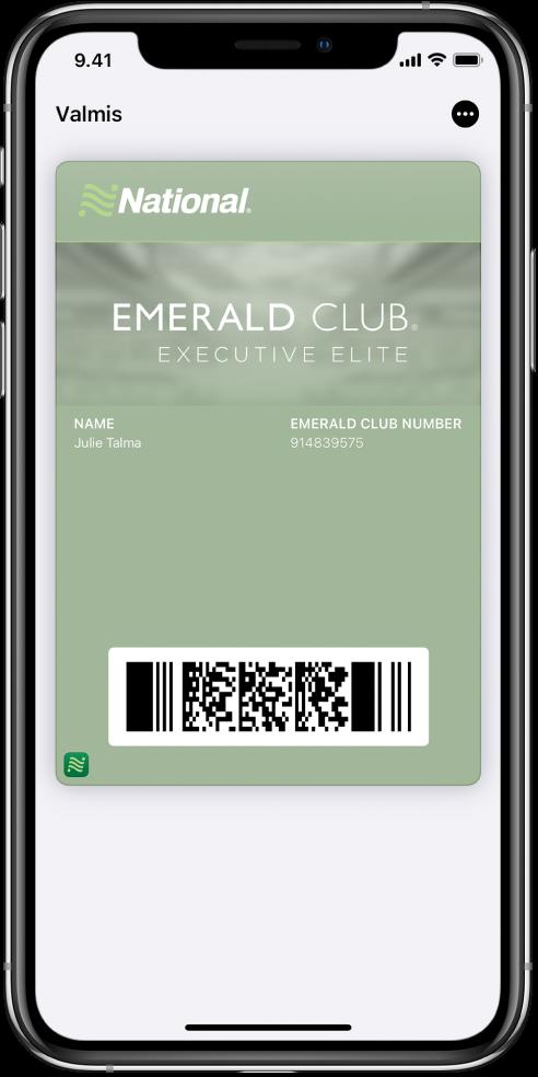 Tarkastuskortti Walletissa näyttää lennon tiedot sekä QR-koodin alareunassa.