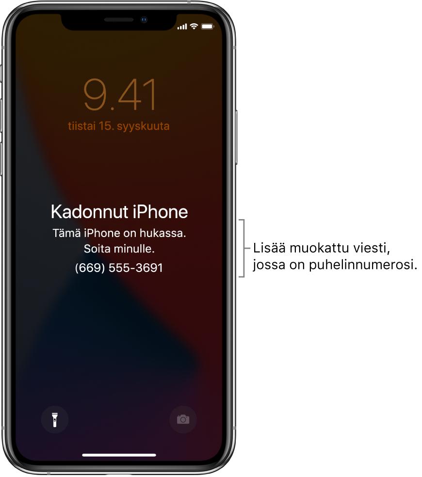 """iPhonen lukittu näyttö, jossa on viesti: """"Kadonnut iPhone. Tämä iPhone on kadonnut. Soita minulle. (669) 5553691."""" Voit lisätä muokatun viestin ja puhelinnumerosi."""