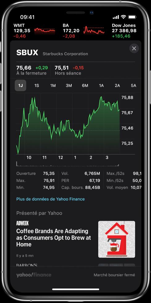 Au milieu de l'écran, un graphique affiche les performances d'une action tout au long d'une journée. Au-dessus du graphique se trouvent les boutons permettant d'afficher les performances de l'action sur une journée, une semaine, un mois, trois mois, six mois, un an, deux ans ou cinq ans. Sous le graphique se trouvent les détails de l'action, comme le cours d'ouverture, la valeur la plus haute, la valeur la plus basse et la capitalisation de marché. Sous le graphique se trouvent les articles AppleNews liés à l'action.