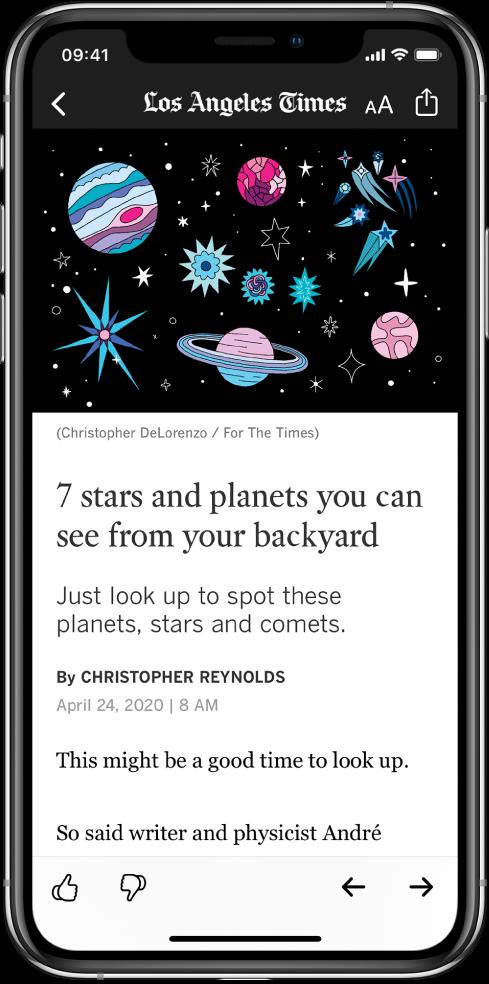 Un écran affichant un article. En haut se trouvent les boutons Back, «Resize Text» et Share. Le nom du média est également affiché en haut de l'écran. Une grande image et un titre sont affichés sous les boutons. En bas de l'écran se trouvent les boutons «Suggest More», «Suggest Less», Previous et Next.