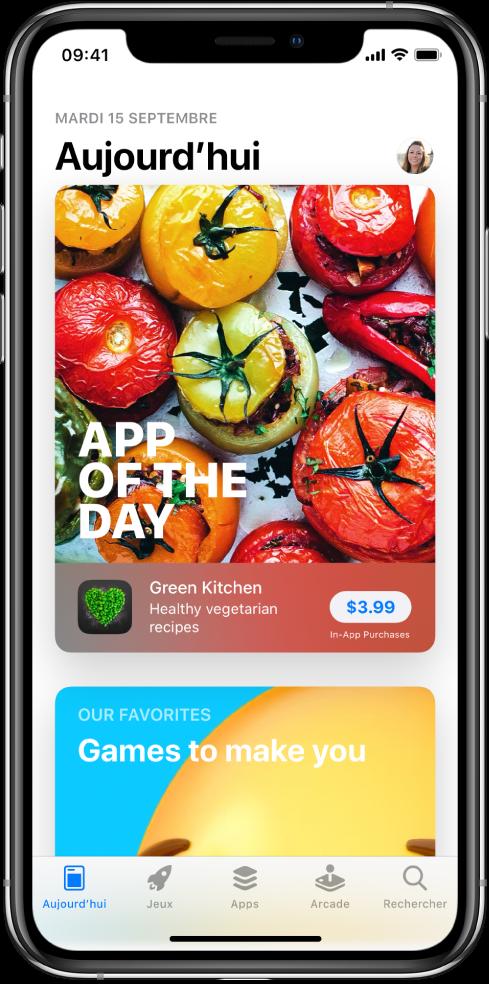 Écran Aujourd'hui de l'AppStore montrant une app recommandée. Votre photo de profil, que vous touchez pour afficher les achats et gérer les abonnements, se trouve en haut à droite. En bas de l'écran, de gauche à droite, se trouvent les onglets Aujourd'hui, Jeux, Apps, Arcade et Rechercher.