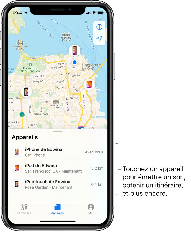 Écran Localiser ouvert sur l'onglet Appareils. Il y a trois appareils dans la liste Appareils: iPhone d'Edwina, iPad d'Edwina et iPodtouch d'Edwina. Leur position est affichée sur un plan de San Francisco.