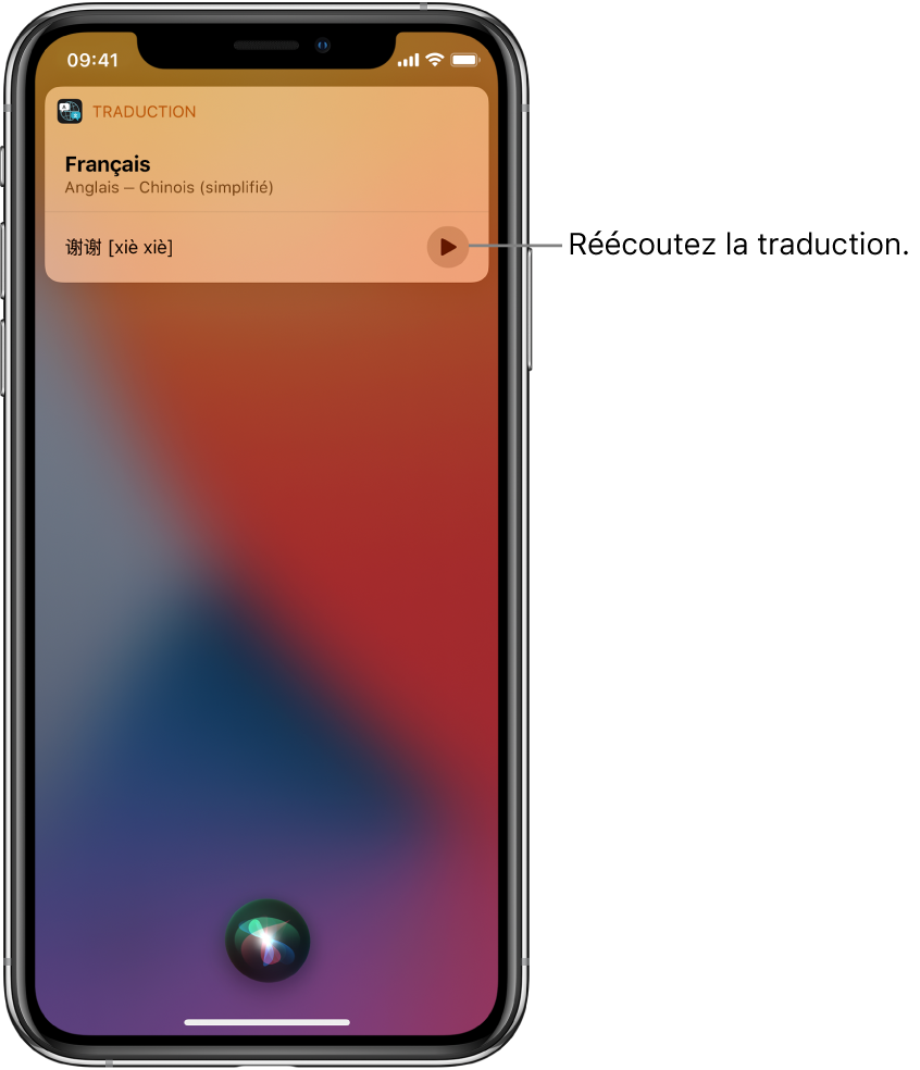 Siri affiche une traduction de l'expression anglaise « thank you » en mandarin. Un bouton situé à droite de la traduction relance l'audio de la traduction.