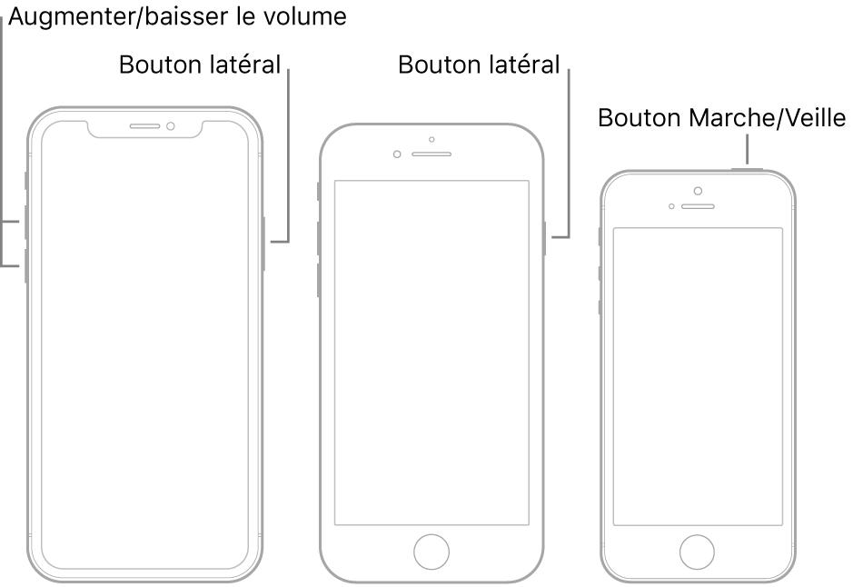 Illustrations de trois modèles d'iPhone différents, avec leur écran vers le haut. L'illustration située la plus à gauche affiche le bouton d'augmentation et de diminution du volume. Le bouton latéral s'affiche à droite. L'illustration centrale affiche le bouton latéral à droite de l'appareil. L'illustration la plus à droite affiche le bouton Marche/Veille en haut de l'appareil.