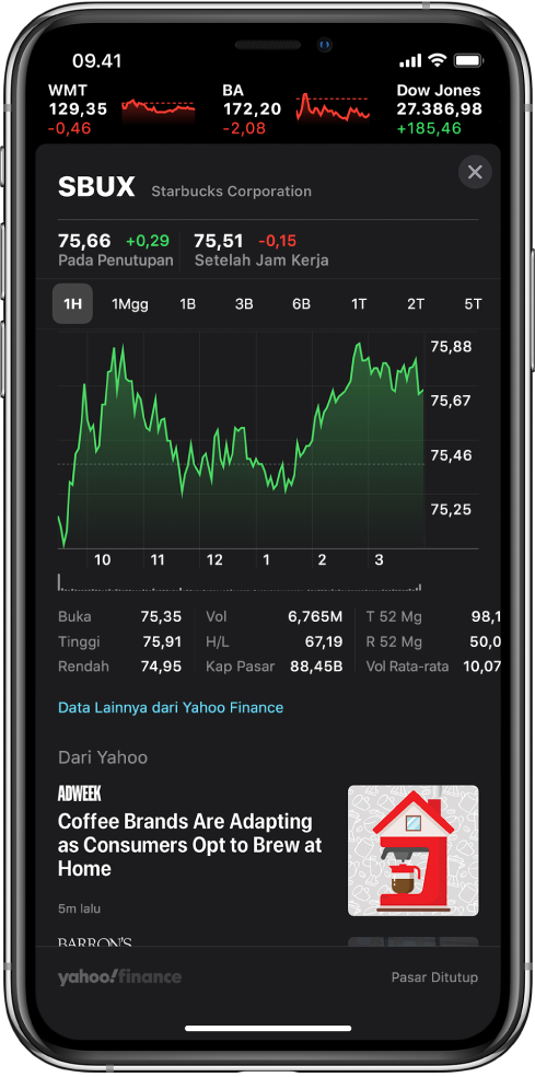 Di tengah layar, bagan menampilkan kinerja saham selama satu hari. Di atas bagan terdapat tombol untuk menampilkan kinerja saham berdasarkan satu hari, satu minggu, satu bulan, tiga bulan, enam bulan, satu tahun, dua tahun, atau lima tahun. Di bawah bagan terdapat detail seperti harga pembukaan, tinggi, rendah, dan kap pasar. Di bawah bagan terdapat artikel Apple News terkait saham.