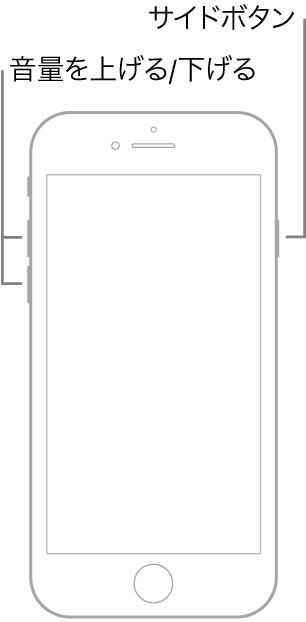 ホームボタンがあるiPhoneモデルが上を向いている図。左側に音量を上げる/音量を下げるボタン、右側にサイドボタンが表示されています。