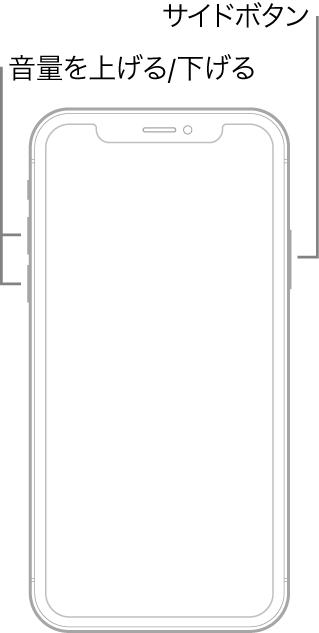 ホームボタンがないiPhoneモデルが上を向いている図。左側に音量を上げる/音量を下げるボタン、右側にサイドボタンが表示されています。