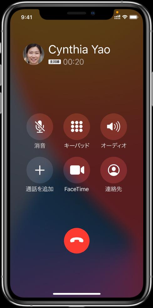 「電話」画面。通話中に使用するオプションの各ボタンが表示されています。上部には左から順に、「消音」、「キーパッド」、「スピーカー」ボタンがあります。下部には左から順に、「通話を追加」、「FaceTime」、「連絡先」ボタンがあります。