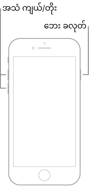 Home ခလုတ်တစ်ခုပါရှိသော ပက်လက်ထားထားသည့် iPhone အမျိုးအစား၏ သရုပ်ပြပုံတစ်ခု။ အသံအတိုးအကျယ်ခလုတ်များကို ထိုဖုန်း၏ ဘယ်ဘက်တွင်ပြထား၍ ဘေးခလုတ်တစ်ခုကို ညာဘက်တွင်ပြထားသည်။