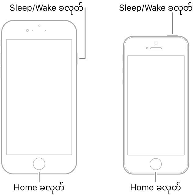 ဖုန်းမျက်နှာပြင်ဖော်ပြထားသည့် iPhone အမျိုးအစားများ၏ နမူနာပုံစံနှစ်မျိုးအား ပြသထားခြင်း။ နှစ်မျိုးလုံးတွင်ပင်မခလုတ်များသည် ထိုဖုန်းများ၏အောက်ခြေအနီးတွင်ရှိသည်။ ဘယ်ဘက်အရောက်ဆုံးအမျိုးအစားတွင် ထိုဖုန်းထိပ်ရှိညာဘက်အစွန်းတွင် Sleep/Wake ခလုတ်တစ်ခုရှိပြီး၊ ညာဘက်အရောက်ဆုံးအမျိုးအစားတွင် ထိုဖုန်း၏ ထိပ် ညာဘက်အစွန်းတွင် Sleep/Wake ခလုတ်တစ်ခုရှိသည်။