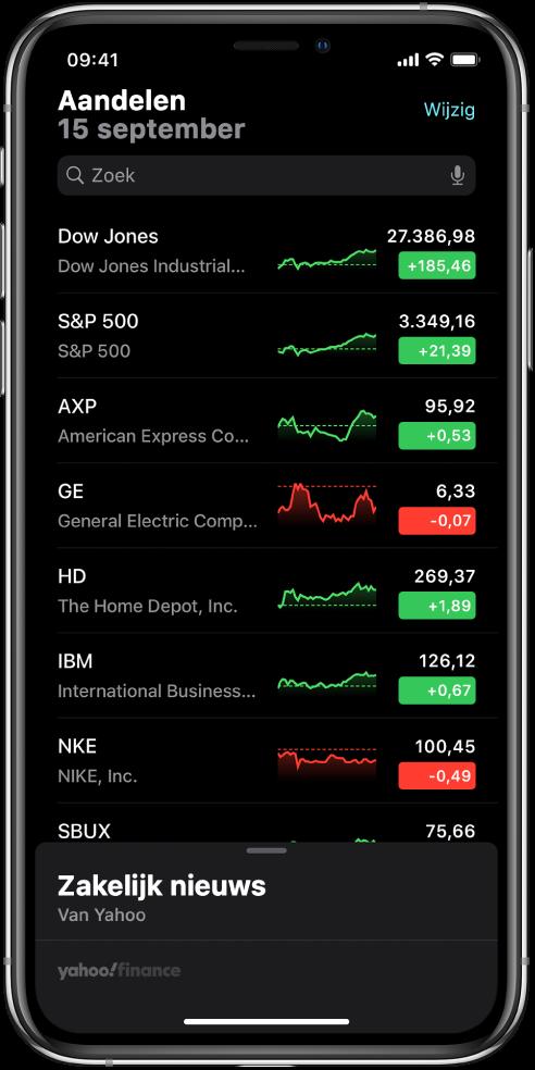 Een volglijst met verschillende aandelen. Voor elk aandeel in de lijst zie je van links naar rechts: het aandelensymbool en de naam, een ontwikkelingsgrafiek, de koers en de koerswijziging. Boven in het scherm zie je boven de volglijst een zoekveld. Onder de volglijst zie je 'Zakelijk nieuws'. Veeg omhoog over 'Zakelijk nieuws' om artikelen weer te geven.