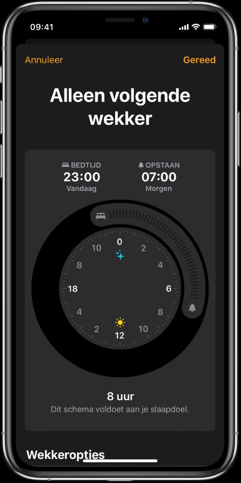 Het scherm 'Alleen volgende wekker', waarin de bedtijd op 23:00uur is ingesteld en de wekker op 7:00uur staat.