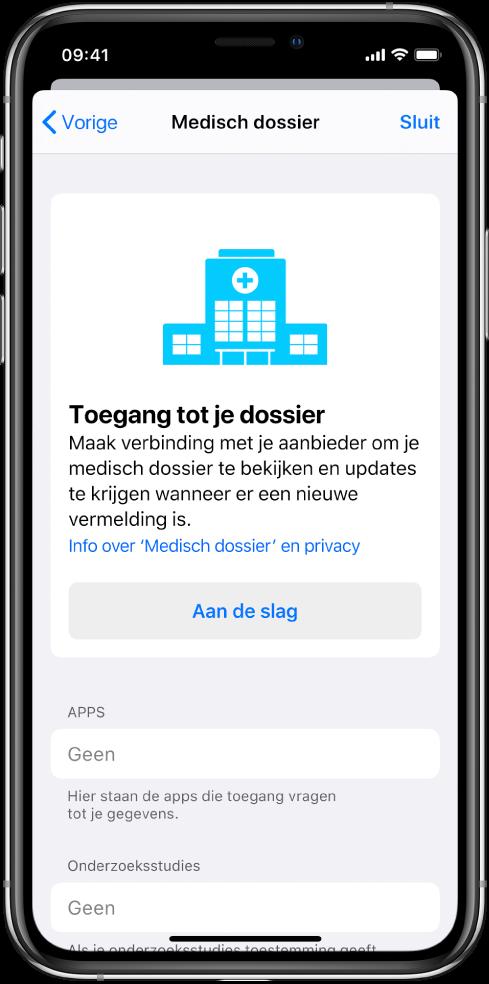 Het scherm 'Aan de slag' voor het instellen van downloads van medische dossiers.