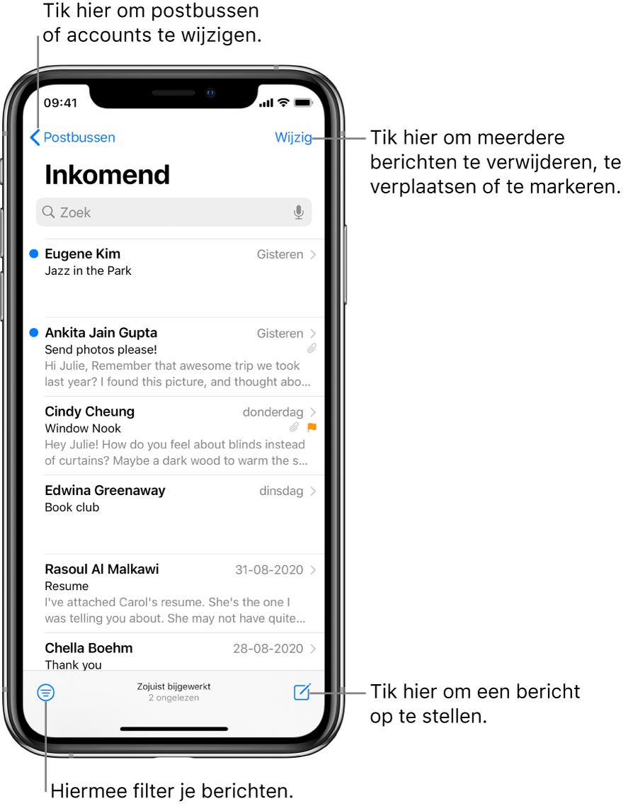 De postbus 'Inkomend' met een lijst met e-mails. Linksbovenin zie je de postbusknop waarmee je naar een andere postbus kunt gaan. Rechtsbovenin bevindt zich de wijzigknop voor het verwijderen, verplaatsen of markeren van e-mail. Linksonderin zie je de filterknop, waarmee je kunt instellen dat alleen bepaalde e-mails worden weergegeven. Rechtsonderin staat de knop voor het opstellen van een nieuwe e-mail.
