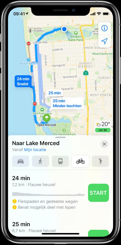 Een kaart met meerdere fietsroutes. In de route-informatie onderin staan details voor de routes, waaronder geschatte tijden, hoogteveranderingen en het soort wegen. Naast elke optie op de route-informatie staat de knop 'Ga'.