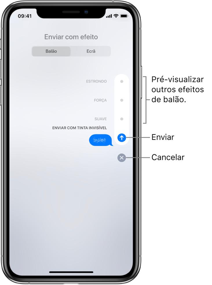 Pré‑visualização da mensagem com o efeito de tinta invisível. À direita, toque num controlo para ver outros efeitos de balão. Volte a tocar no mesmo controlo para enviar ou em Cancelar para voltar à mensagem.