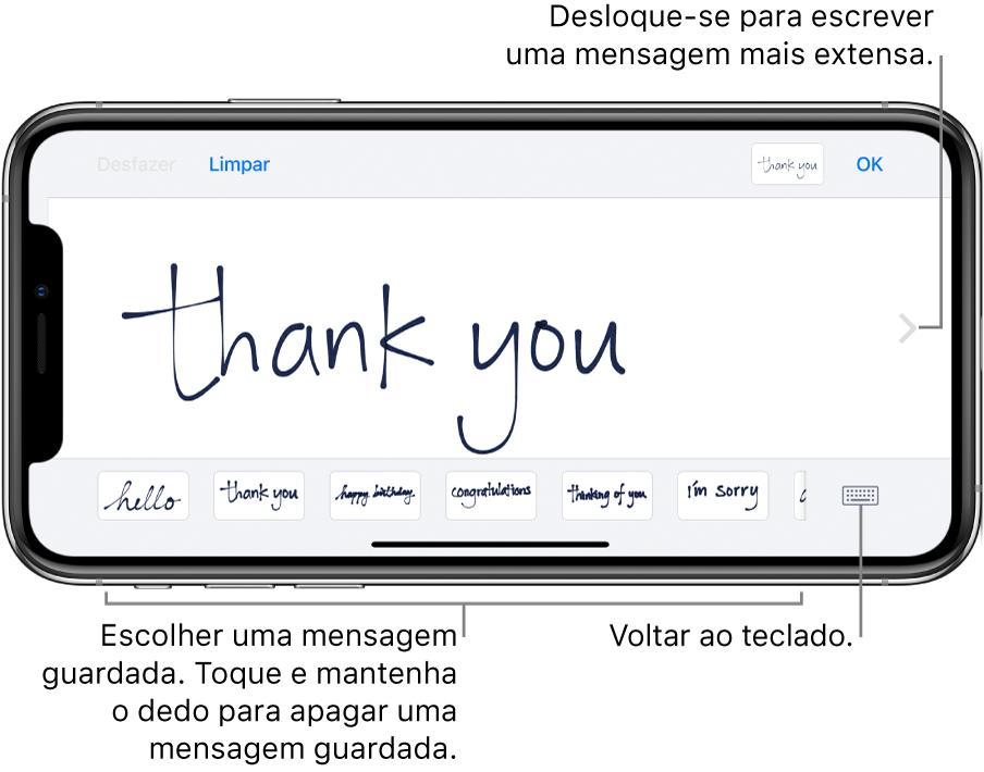 Ecrã com uma mensagem manuscrita. Na parte inferior do ecrã, da esquerda para a direita, estão mensagens guardadas e predefinidas e o botão para voltar ao teclado.